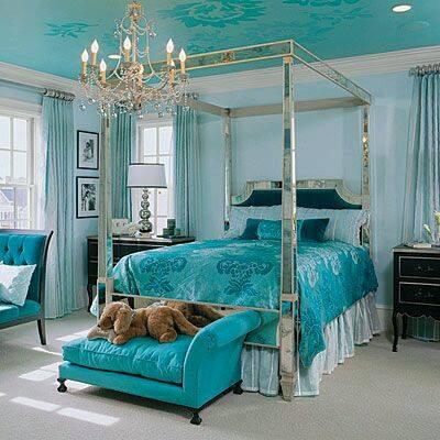 لهن | بالصور .. غرف نوم باللون التركواز
